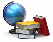stock photo of geography  - Globe books blank global geography knowledge studying literature icon concept - JPG