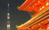 stock photo of shogun  - Tokyo Asakusa temple and Tokyo sky tree at night - JPG