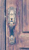 picture of wooden door  - Old wooden door style and old door handle - JPG