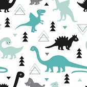 picture of pteranodon  - Seamless kids geometric animals dinosaur arrows and triangle illustration background pattern in vector - JPG