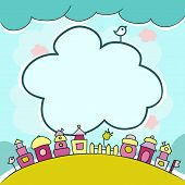 stock photo of row houses  - Childrens background with multicolored cartoon houses for cute card with clouds and cute elements - JPG