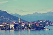 stock photo of lagos  - view of Lago Maggiore at the Italy - JPG