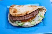picture of pita  - Greek pita with meat salad tomato and sauce - JPG
