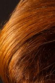 picture of hair streaks  - Red Hair over black - JPG