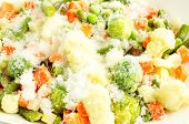 picture of snow peas  - Mixture of frozen vegetables carrots peas broccoli green beans Brussels sprouts cauliflower in white bowl with ice and snow - JPG