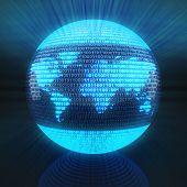 image of binary code  - World map on globe formed by binary code - JPG