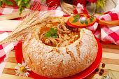 image of tripe  - traditional polish tripe soup with tomato and vegetables in bread bowl - JPG