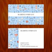 image of marines  - Business Card with Marine Sea Sketch Hand Drawn Background - JPG
