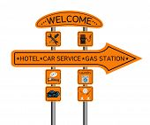 picture of gasoline station  - Character set of pointers roadside hotel gas station auto service - JPG