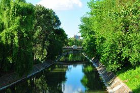 stock photo of decebal  - timisoara city romania bega river channel view - JPG