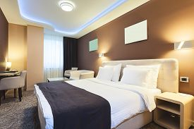 pic of flat-bed  - Interior of a hotel room for two persons - JPG