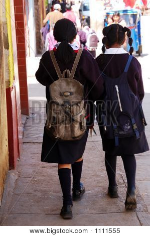 Picture or Photo of Peruvian schoolgirls wearing their skirts a mandatory uniform