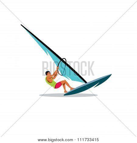 Windsurfing Vector Illustration
