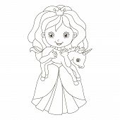 Illustration of beautiful princess with baby unicorn. Coloring Book Page poster