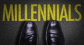 Top View of Business Shoes on the floor with the text: Millennials poster