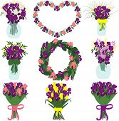 Постер, плакат: Bouquet of purple and pink irises and composition of irises tulips and freesias
