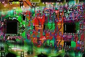Multicolor Abstract Electronic Circuit Board