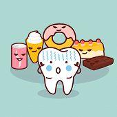 Постер, плакат: Cute Cartoon Tooth Cavity