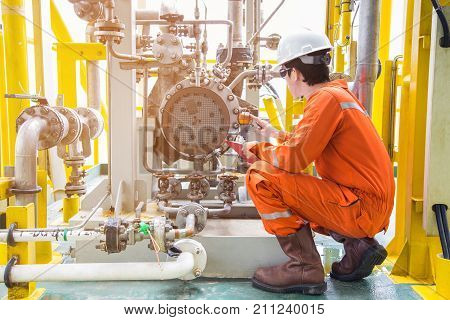poster of Mechanical inspector inspection oil pump centrifugal type. Offshore oil and gas industry maintenance activities.