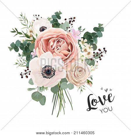 poster of Flower Bouquet floral bunch vector boho design object element. Peach creamy pale pink Anemone Poppy Rose flowers berry Eucalyptus herb mix rustic floral elegant wedding card. All elements editable