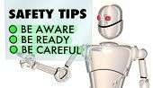 Safety Tips Robot Be Aware Ready Careful 3d Illustration poster