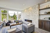 Modern Great Room With A Floor To Ceiling Stone Fireplace poster