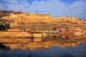 Amber Fort Reflected In Maota Lake Near Jaipur, Rajasthan, India. poster