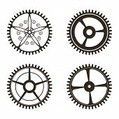 Set Of Gears On   White Background poster