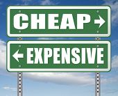 expensive or cheap compare prices best value low cost or price for best value and top quality on a b poster