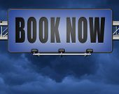 book now online ticket booking for flight holliday or vacation road sign billboard 3D, illustration  poster