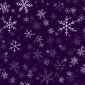 Постер, плакат: Violet Snowflakes Seamless Pattern On Purple Christmas Background Chaotic Scattered Violet Snowflak