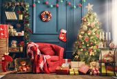 Merry Christmas and Happy Holidays! A beautiful living room decorated for Christmas. poster