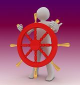 Captain Steering The Wheel . 3D Rendered Illustration poster