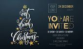 Merry Christmas Party Poster Greeting Vector Golden Decoration Snowflake New Year Background poster