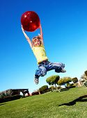 picture of children playing  - Children playing in park with ball - JPG