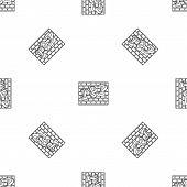 Rap Bricks Wall Pattern Seamless Repeat Geometric For Any Web Design poster