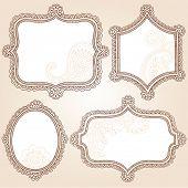 Henna Vintage Frames Mehndi Doodles Paisley Design Elements Set- Vector Illustration