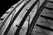 Studio Shot Of A Set Of Summer Car Tires On Black Background. Tire Stack Background. Car Tyre Protec poster