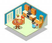 Livingroom Concept Banner. Isometric Banner Of Livingroom Concept For Web, Giftcard And Postcard poster