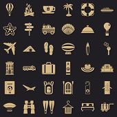 Travel Luggage Icons Set. Simple Style Of 36 Travel Luggage Icons For Web For Any Design poster