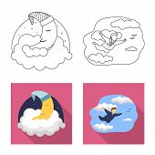 Isolated Object Of Dreams And Night Icon. Collection Of Dreams And Bedroom Stock Bitmap Illustration poster