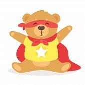 Plush Teddy Bear Superhero Vector Illustration. Children, Baby Cute Adorable Toy. Stuffed, Cuddly, F poster