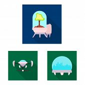 Bitmap Design Of Mars And Space Icon. Set Of Mars And Planet Bitmap Icon For Stock. poster