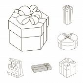 Gift And Packing Outline Icons In Set Collection For Design.colorful Packing Bitmap Symbol Stock Web poster