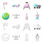 Isolated Object Of Mars And Space Icon. Set Of Mars And Planet Stock Symbol For Web. poster