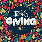 Happy Thanksgiving Day In Calligraphic Hand Drawn Style And Paper Style. Fall Style For Autumn.happy poster