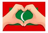 Maldives Flag And Hand Heart Shape. Patriotic Background. National Flag Of Maldives Vector Illustrat poster