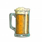 Hand Drawn Mug With Froth Bubble Beer Drink Vector. Full Mug With Handle And Alcoholic Fresh Cold Br poster