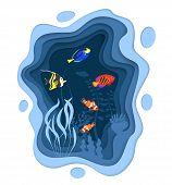 Underwater World Design With Coral Reef Fishes In Paper Cut Style. Exotic Aquarium Vector Illustrati poster