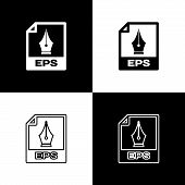 Set Eps File Document Icon. Download Eps Button Icons Isolated On Black And White Background. Eps Fi poster